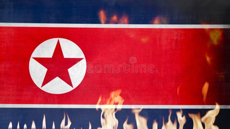 Σημαία Βόρεια Κορεών στην πυρκαγιά στοκ εικόνα