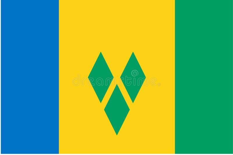 σημαία Γρεναδίνες Άγιος vinc διανυσματική απεικόνιση