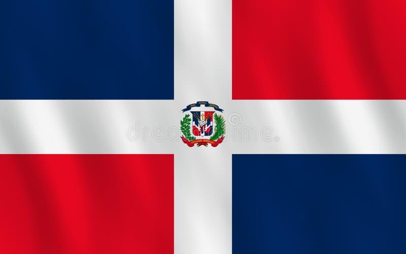 Σημαία Δομινικανής Δημοκρατίας με την επίδραση κυματισμού, επίσημη αναλογία ελεύθερη απεικόνιση δικαιώματος