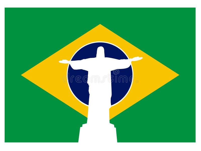 σημαία Ιησούς Ρίο της Βραζ&i διανυσματική απεικόνιση