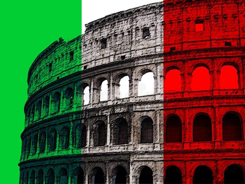 σημαία ιταλικά coliseum ελεύθερη απεικόνιση δικαιώματος
