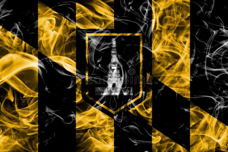 Σημαία καπνού πόλεων της Βαλτιμόρης, κράτος της Μέρυλαντ, Πολιτεία Amer στοκ φωτογραφία