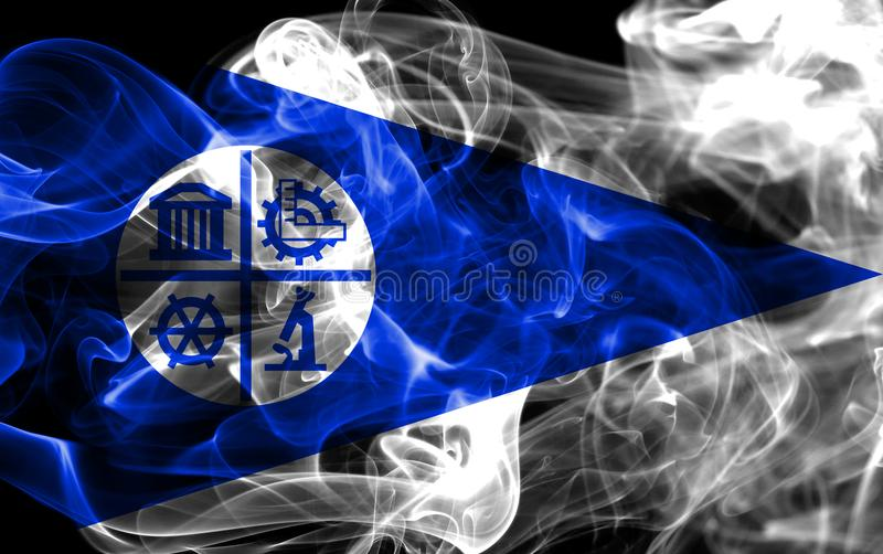 Σημαία καπνού πόλεων της Μινεάπολη, κράτος Μινεσότας, Ηνωμένες Πολιτείες της Αμερικής στοκ εικόνες