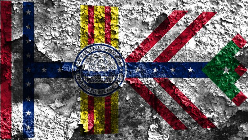 Σημαία καπνού πόλεων της Τάμπα, κράτος της Φλώριδας, Ηνωμένες Πολιτείες της Αμερικής στοκ φωτογραφίες με δικαίωμα ελεύθερης χρήσης