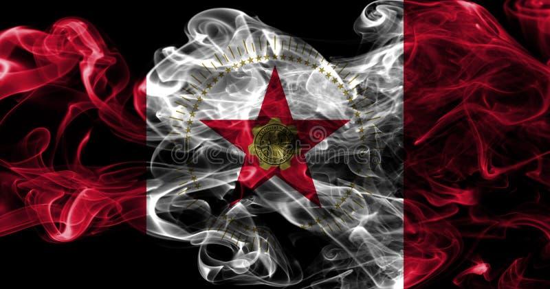 Σημαία καπνού πόλεων του Μπέρμιγχαμ, κράτος της Αλαμπάμα, Πολιτεία Amer στοκ φωτογραφίες