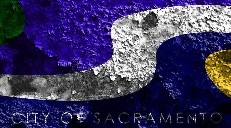 Σημαία καπνού πόλεων του Σακραμέντο, κράτος Καλιφόρνιας, Πολιτεία του Α διανυσματική απεικόνιση