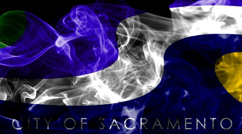 Σημαία καπνού πόλεων του Σακραμέντο, κράτος Καλιφόρνιας, Πολιτεία του Α απεικόνιση αποθεμάτων