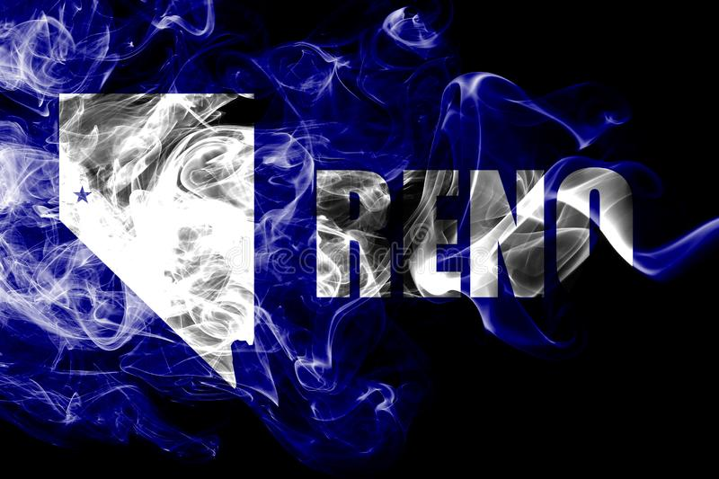Σημαία καπνού πόλεων Reno, κράτος της Νεβάδας, Ηνωμένες Πολιτείες της Αμερικής στοκ φωτογραφία