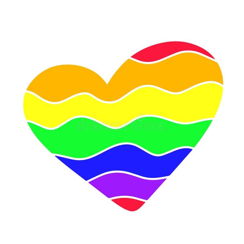 Σημαία καρδιών lgbt Γραφικό στοιχείο τυπογραφίας σχεδίου έμπνευσης καλλιγραφίας ουράνιων τόξων Συρμένο διανυσματικό σημάδι Διάκρι ελεύθερη απεικόνιση δικαιώματος