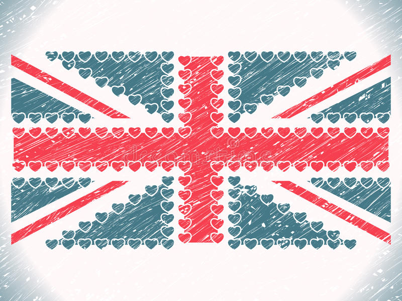 Σημαία καρδιών του Union Jack grunge διανυσματική απεικόνιση