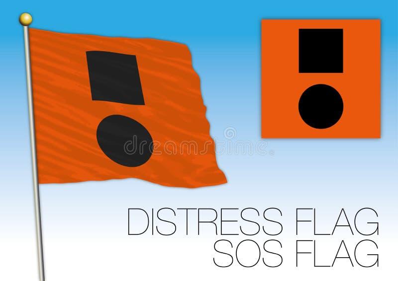 Σημαία κινδύνου SOS, διεθνές σήμα ελεύθερη απεικόνιση δικαιώματος