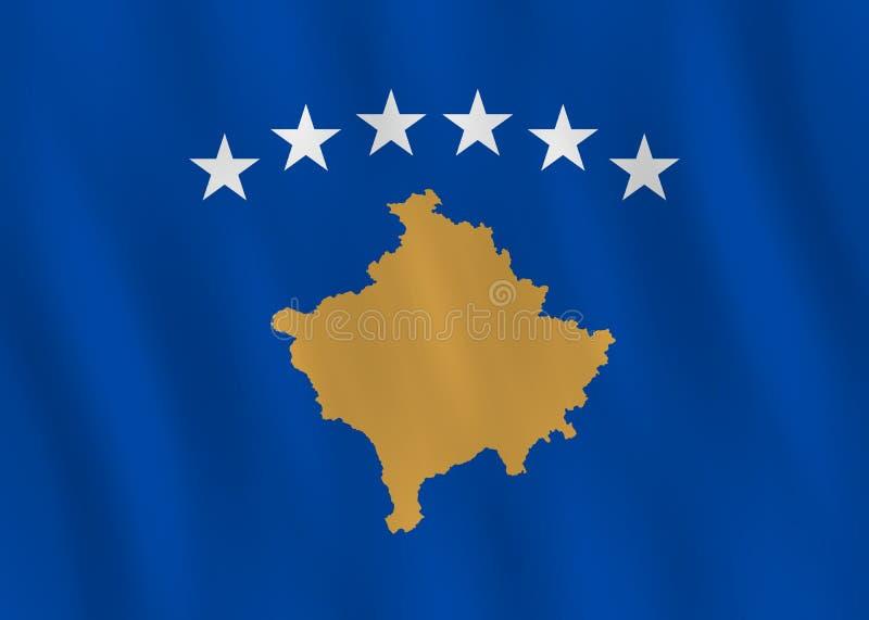 Σημαία Κοσόβου με την επίδραση κυματισμού, επίσημη αναλογία ελεύθερη απεικόνιση δικαιώματος
