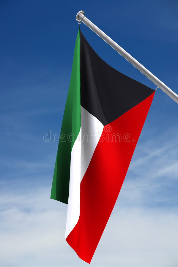 σημαία Κουβέιτ εθνικό ελεύθερη απεικόνιση δικαιώματος