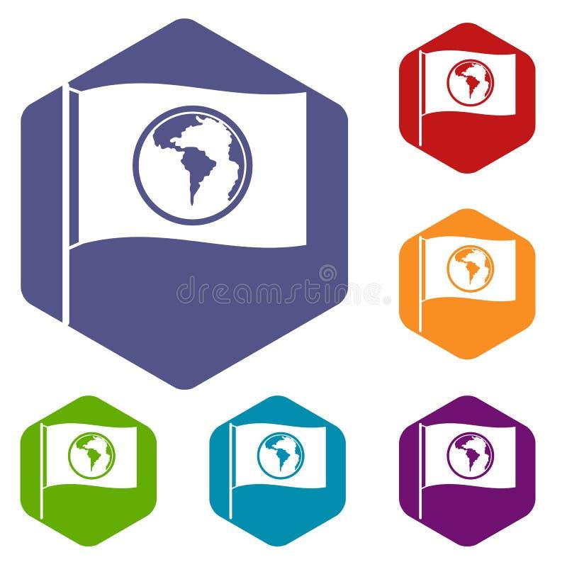 Σημαία με τα εικονίδια παγκόσμιων πλανητών καθορισμένα hexagon απεικόνιση αποθεμάτων
