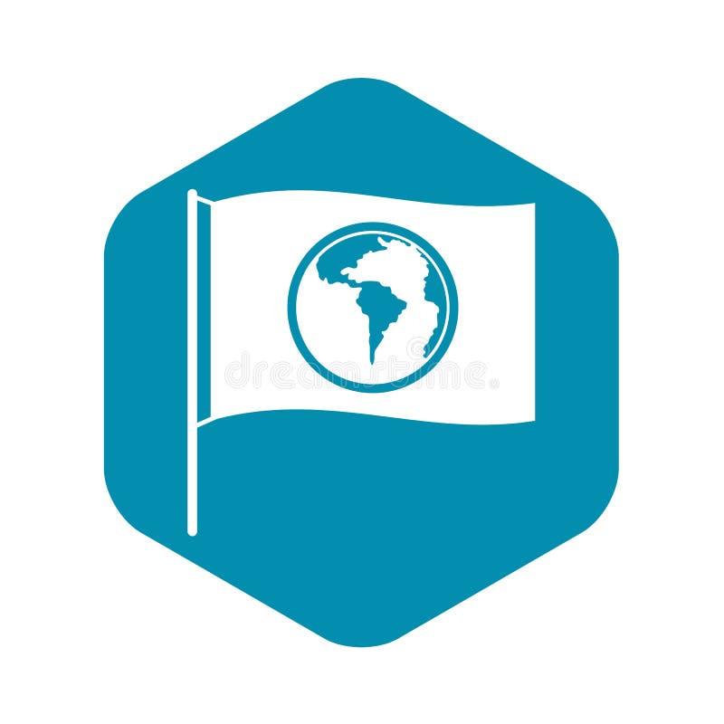 Σημαία με το εικονίδιο παγκόσμιων πλανητών, απλό ύφος απεικόνιση αποθεμάτων