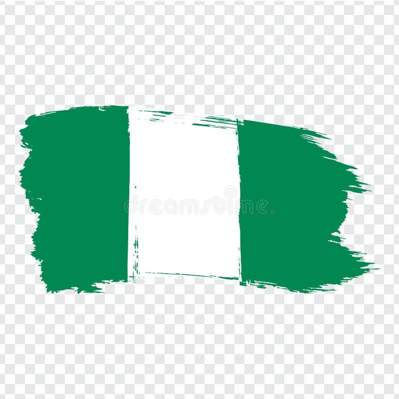 Σημαία Νιγηρία από τα κτυπήματα βουρτσών Ομοσπονδιακή Δημοκρατία σημαιών της Νιγηρίας στο διαφανές υπόβαθρο για το σχέδιο ιστοχώρ διανυσματική απεικόνιση