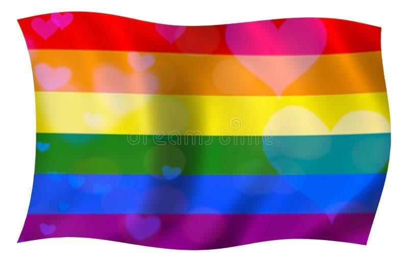 Σημαία ουράνιων τόξων της ελευθερίας lgbt με τις μπλε καρδιές απεικόνιση αποθεμάτων