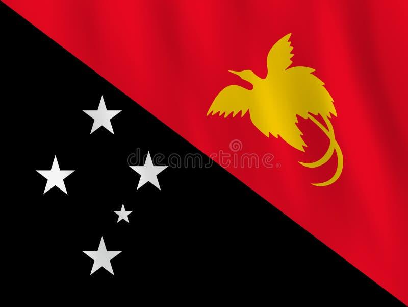 Σημαία Παπούα Νέα Γουϊνέα με την επίδραση κυματισμού, επίσημη αναλογία ελεύθερη απεικόνιση δικαιώματος