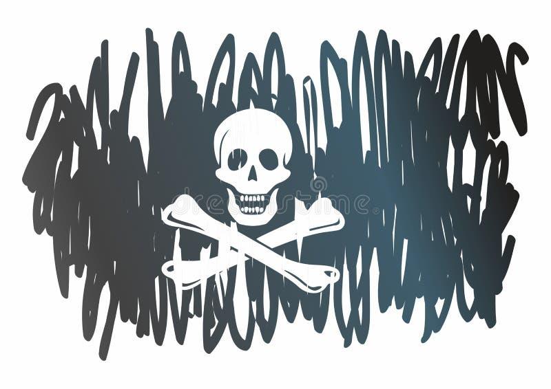 """Σημαία πειρατών με το κρανίο και crossbones Ο παραδοσιακός """"ευχάριστα Ρότζερ """"της πειρατείας Πρότυπο για το σχέδιο των αφισών, δι διανυσματική απεικόνιση"""