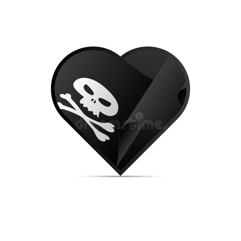 Σημαία πειρατών στην καρδιά σημαία ευχάριστα Roger Σημάδι επίσης corel σύρετε το διάνυσμα απεικόνισης ελεύθερη απεικόνιση δικαιώματος