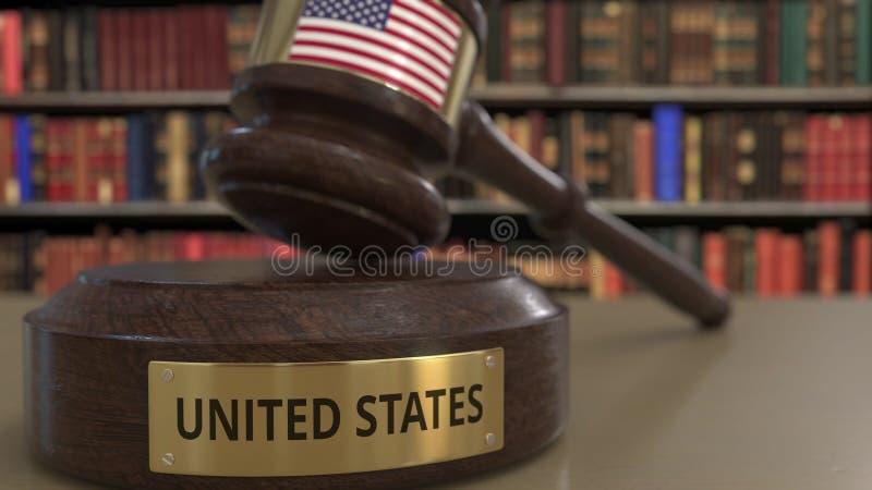 Σημαία Πολιτεία gavel δικαστών στο δικαστήριο Η εθνική δικαιοσύνη ή η αρμοδιότητα αφορούσε την εννοιολογική τρισδιάστατη απόδοση ελεύθερη απεικόνιση δικαιώματος
