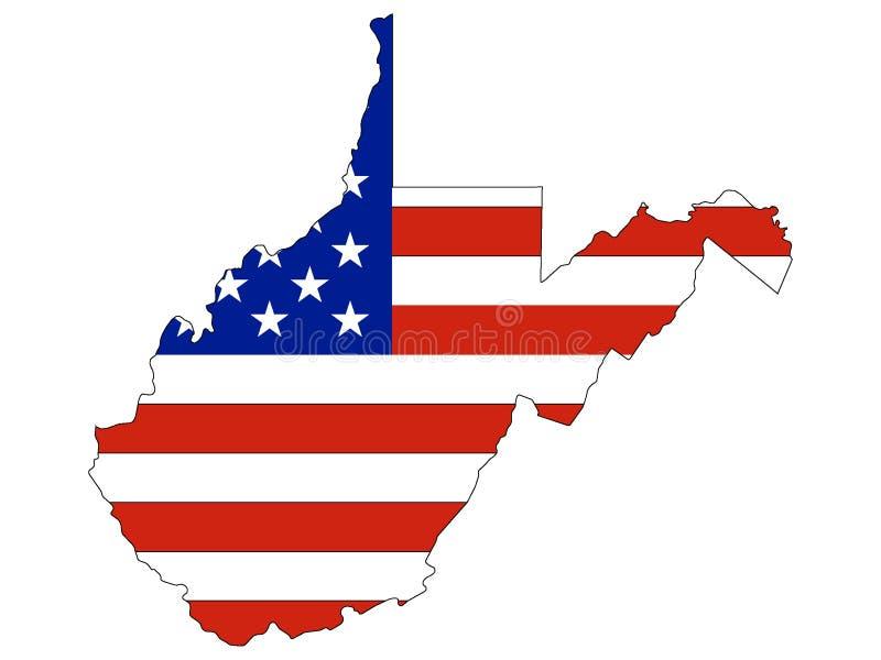 Σημαία που συνδυάζεται ΑΜΕΡΙΚΑΝΙΚΗ με το χάρτη του αμερικανικού ομοσπονδιακού κράτους της δυτικής Βιρτζίνια ελεύθερη απεικόνιση δικαιώματος