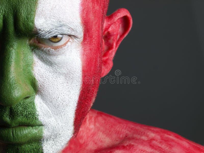 σημαία προσώπου το άτομο της Ιταλίας του που χρωματίζεται στοκ φωτογραφία με δικαίωμα ελεύθερης χρήσης