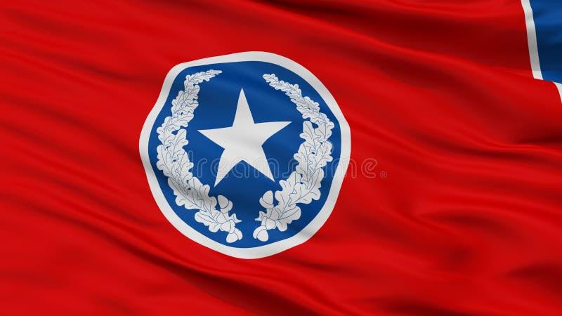 Σημαία πόλεων του Σατανούγκα, ΗΠΑ, άποψη κινηματογραφήσεων σε πρώτο πλάνο διανυσματική απεικόνιση