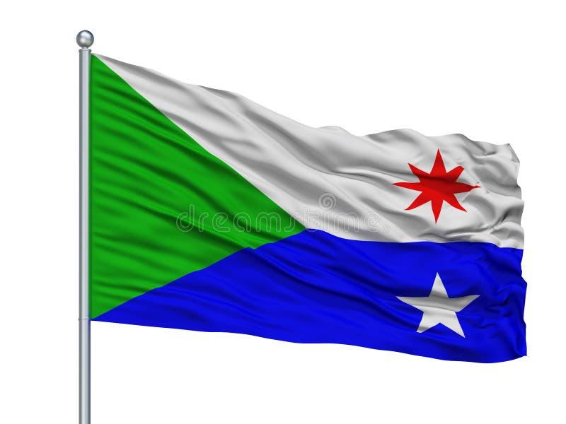 Σημαία πόλεων του Σατανούγκα στο κοντάρι σημαίας, ΗΠΑ, που απομονώνονται στο άσπρο υπόβαθρο ελεύθερη απεικόνιση δικαιώματος