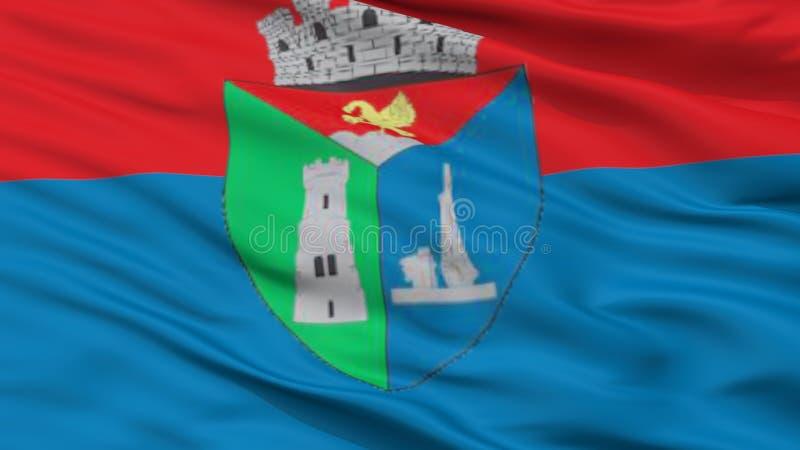 Σημαία πόλεων Carei, Ρουμανία, άποψη κινηματογραφήσεων σε πρώτο πλάνο στοκ εικόνα με δικαίωμα ελεύθερης χρήσης