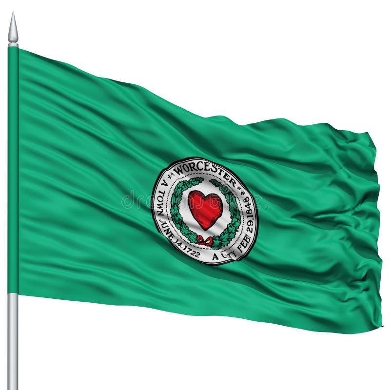 Σημαία πόλεων του Worcester στο κοντάρι σημαίας, ΗΠΑ απεικόνιση αποθεμάτων