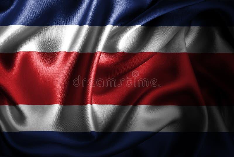 Σημαία σατέν μεταξιού της Κόστα Ρίκα απεικόνιση αποθεμάτων