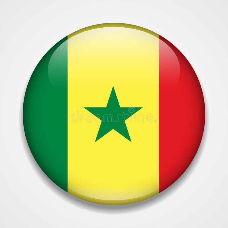 σημαία Σενεγάλη Στρογγυλό στιλπνό διακριτικό διανυσματική απεικόνιση