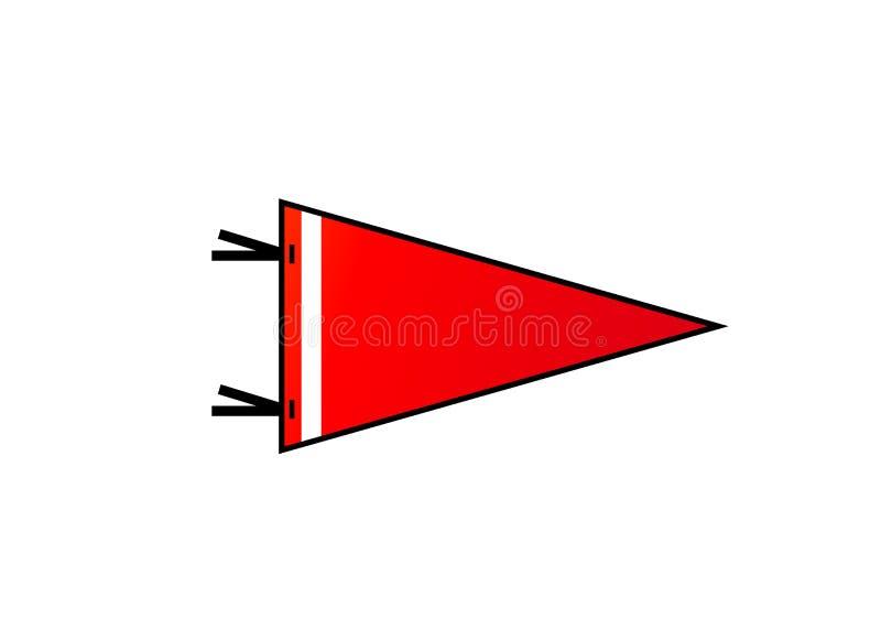 Σημαία στο άσπρο υπόβαθρο Κόκκινη σημαία με την άσπρη λουρίδα στο επίπεδο ύφος διανυσματική απεικόνιση