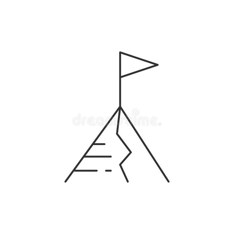 Σημαία στο τοπ εικονίδιο γραμμών βουνών, διανυσματικό σημάδι περιλήψεων, γραμμικό εικονόγραμμα ύφους που απομονώνεται στο λευκό Σ διανυσματική απεικόνιση