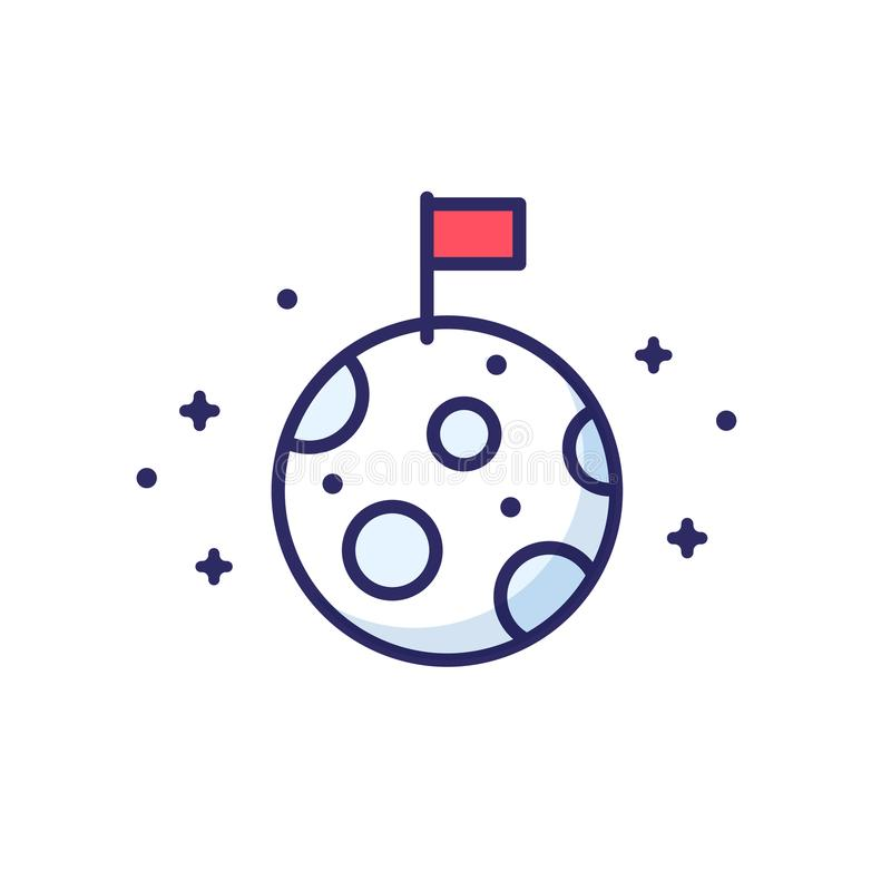 Σημαία στο φεγγάρι διανυσματική απεικόνιση