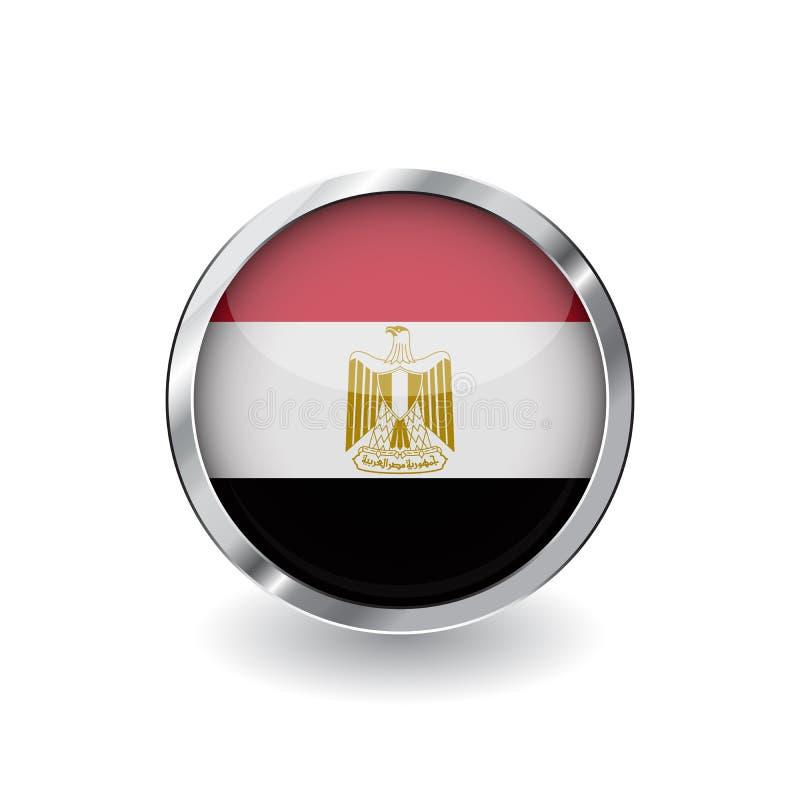 Σημαία της Αιγύπτου, κουμπί με το πλαίσιο μετάλλων και τη σκιά διανυσματικό εικονίδιο σημαιών της Αιγύπτου, διακριτικό με τη στιλ απεικόνιση αποθεμάτων