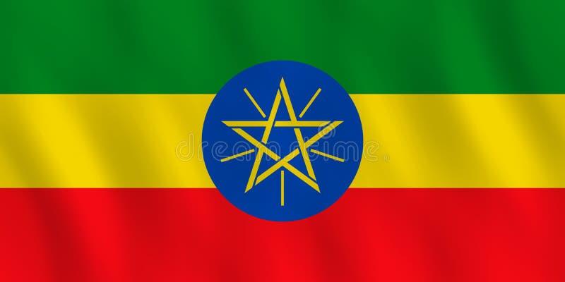 Σημαία της Αιθιοπίας με την επίδραση κυματισμού, επίσημη αναλογία απεικόνιση αποθεμάτων