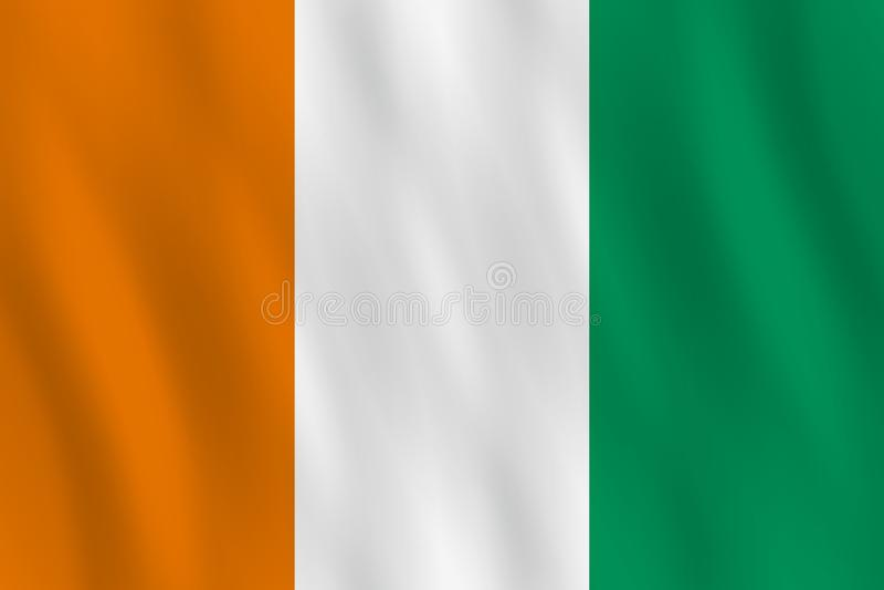 Σημαία της Ακτής του Ελεφαντοστού με την επίδραση κυματισμού, επίσημη αναλογία απεικόνιση αποθεμάτων
