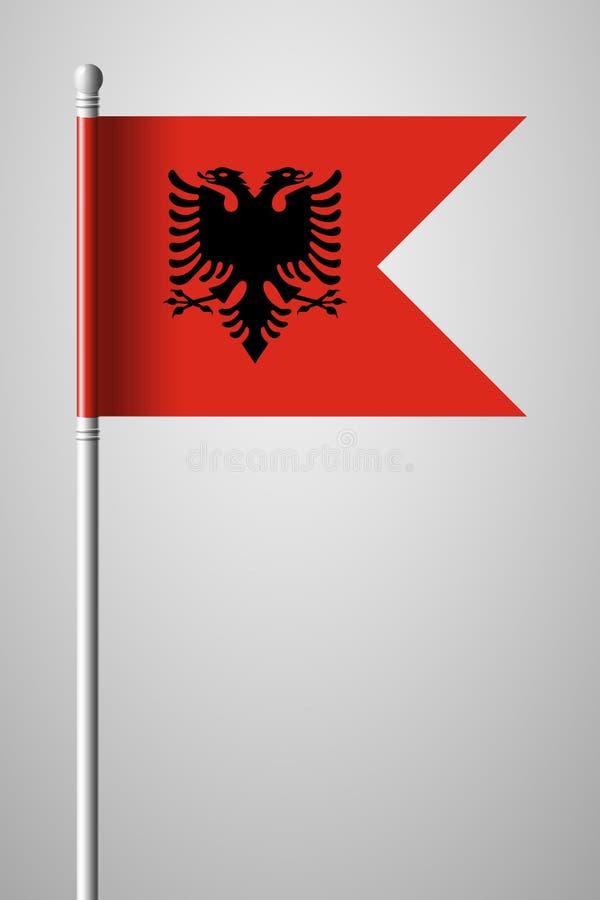 σημαία της Αλβανίας Εθνική σημαία στο κοντάρι σημαίας Απομονωμένο illustratio διανυσματική απεικόνιση