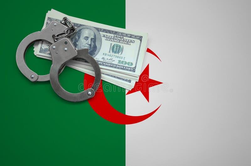 Σημαία της Αλγερίας με τις χειροπέδες και μια δέσμη των δολαρίων Η έννοια της παράβασης του νόμου και των εγκλημάτων κλεφτών στοκ εικόνες