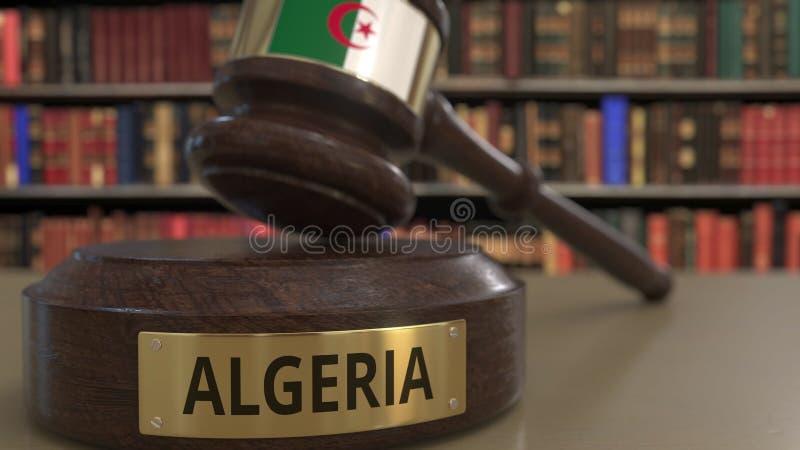 Σημαία της Αλγερίας gavel δικαστών στο δικαστήριο Η εθνική δικαιοσύνη ή η αρμοδιότητα αφορούσε την εννοιολογική τρισδιάστατη απόδ διανυσματική απεικόνιση