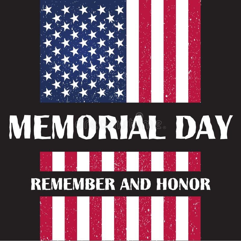 Σημαία της Αμερικής στη διανυσματική απεικόνιση ημέρας μνήμης απεικόνιση αποθεμάτων