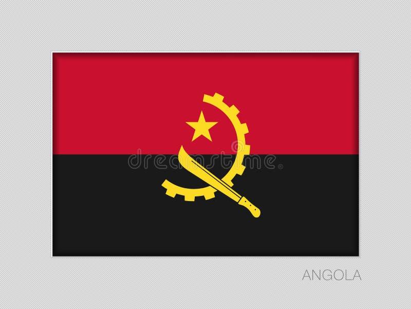 Σημαία της Ανγκόλα Εθνικός Ensign λόγος διάστασης 2 έως 3 στο γκρίζο χαρτόνι διανυσματική απεικόνιση