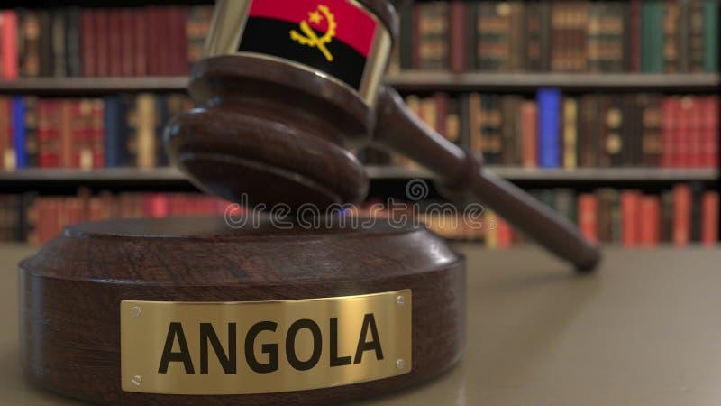 Σημαία της Ανγκόλα μειωμένο gavel δικαστών στο δικαστήριο Η εθνική δικαιοσύνη ή η αρμοδιότητα αφορούσε την εννοιολογική τρισδιάστ διανυσματική απεικόνιση