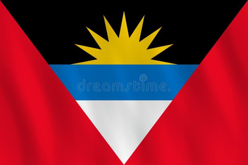 Σημαία της Αντίγκουα και της Μπαρμπούντα με την επίδραση κυματισμού, επίσημη αναλογία απεικόνιση αποθεμάτων