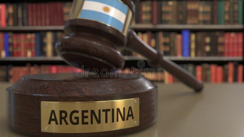 Σημαία της Αργεντινής μειωμένο gavel δικαστών στο δικαστήριο Η εθνική δικαιοσύνη ή η αρμοδιότητα αφορούσε την εννοιολογική τρισδι ελεύθερη απεικόνιση δικαιώματος