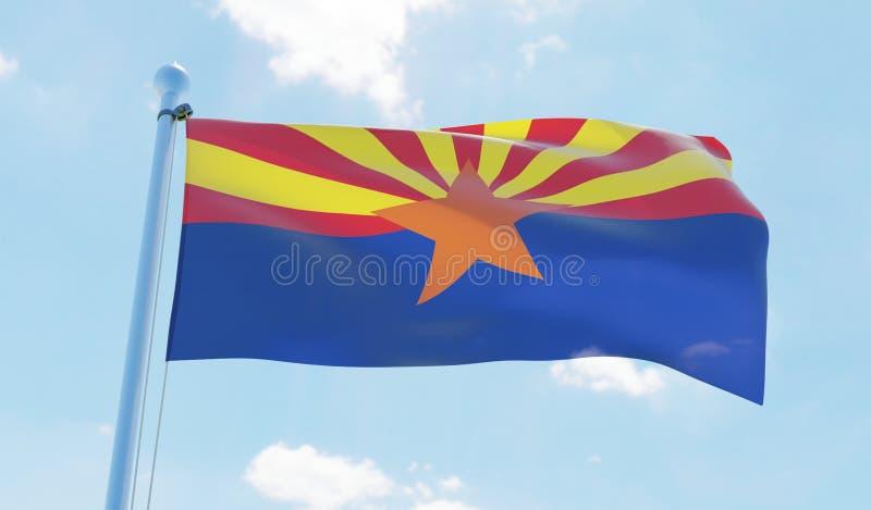 Σημαία της Αριζόνα ΗΠΑ που κυματίζει ενάντια στο μπλε ουρανό απεικόνιση αποθεμάτων