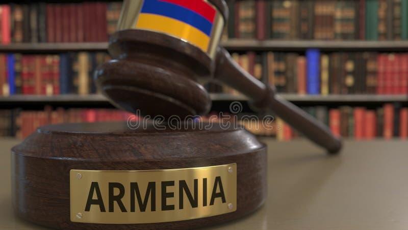 Σημαία της Αρμενίας μειωμένο gavel δικαστών στο δικαστήριο Η εθνική δικαιοσύνη ή η αρμοδιότητα αφορούσε την εννοιολογική τρισδιάσ διανυσματική απεικόνιση