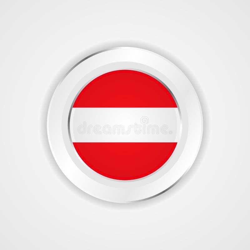 Σημαία της Αυστρίας στο στιλπνό εικονίδιο απεικόνιση αποθεμάτων